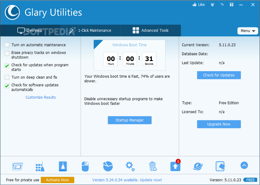 Portable Glary Utilities screenshot 1 - Portable Glary Utilities will provide users with powerful utilities that increase your PC performance and maintain your system