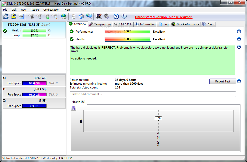 Portable Hard Disk Sentinel Professional screenshot 1 - From the overview tab of Portable Hard Disk Sentinel Professional users are able to inspect the overall HDD performance and health.