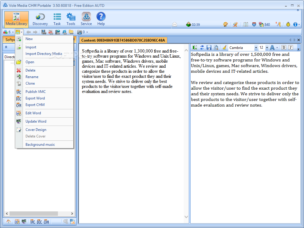 Portable Vole Media CHM Free Edition screenshot 2 - The application enables you to quickly import media files, edit the current word or export the CHM document