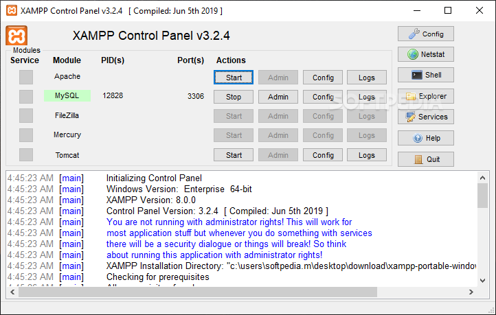 download xampp portable for windows 7 64 bit