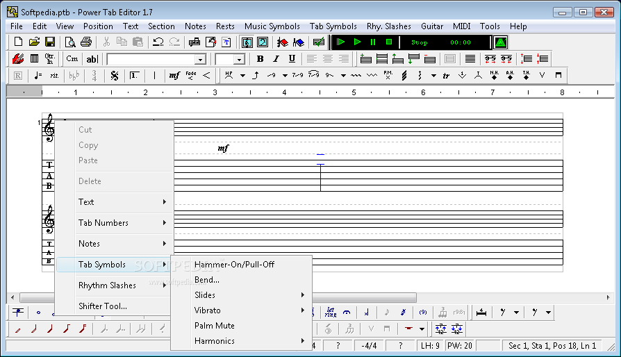 Power Tab Editor screenshot 1 - The main windows of Power Tab Editor, beside the view of the tablature, allows the user to insert keys, symbols, notes.
