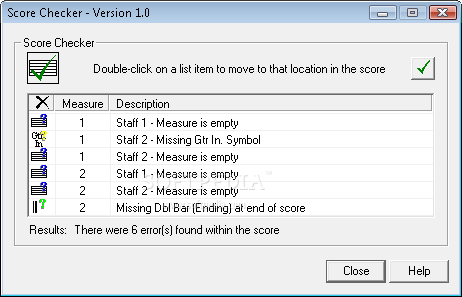 Power Tab Editor screenshot 10 - Score Checker permits the composer to verify his creation on every staff, the program pointing the mistakes on every measure.