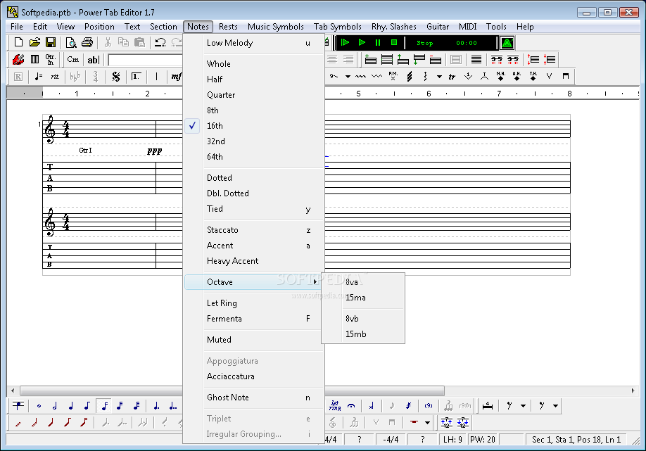 Power Tab Editor screenshot 4 - The user can add different type of notes, change the octaves, add ghost notes or change the melody's accent.