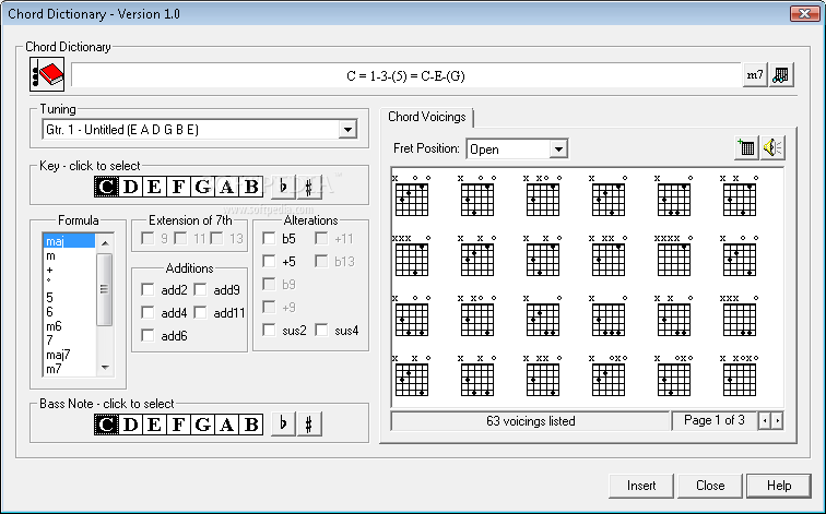 Power Tab Editor screenshot 8 - Power Tab Editor offers a great chord dictionary, where the composer and artist can better understand the song.