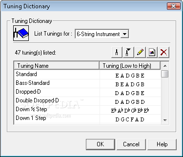 Power Tab Editor screenshot 9 - In Power Tab Editor a Tuning Dictionary is also included. The tuning list contains 47 predefined tunings.