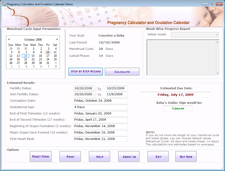 Weekly Calendar Calculator : Pregnancy week calculator software lohoh