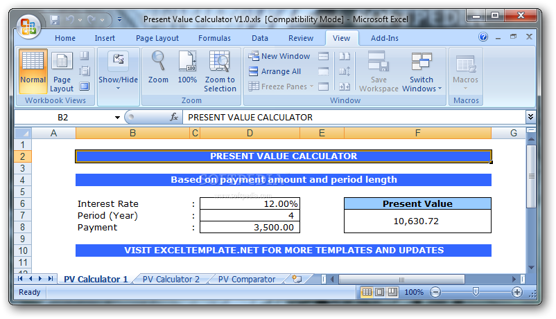 How to calculate net present value in excel 2007 how to for Intrinsic value calculator excel template