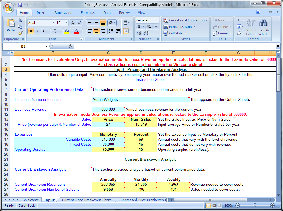 Softpedia  Breakeven Analysis Excel