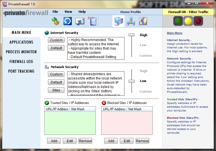 Privatefirewall screenshot 1 - Privatefirewall will provide users with a personal firewall and intrusion detection application