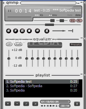 Qmmp screenshot 1 - The main window of the application allows you to control the audio playback and to view the playlist.