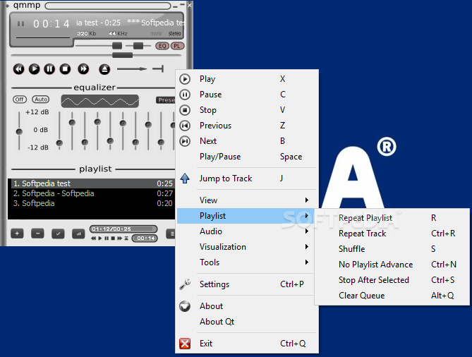 Qmmp screenshot 2 - You can access most of the program features such as the visualizations and the playlist manager from the context menu.