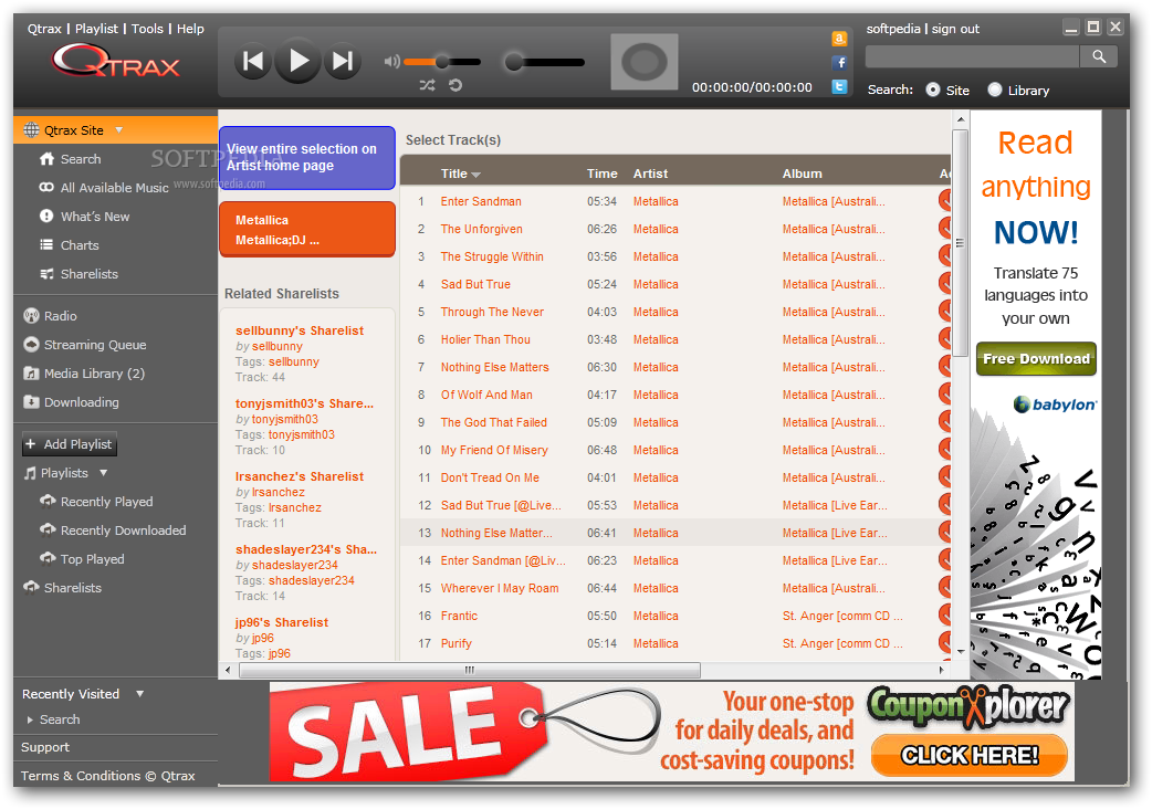 Download Qtrax 2013.08.07.002 Qtrax - Qtrax is a simple and easy to use application that allows you to  download ...