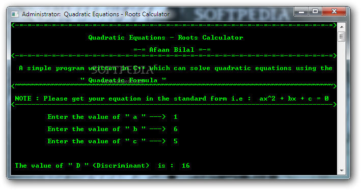 Download Quadratic Equations Roots Calculator 1 0 0 0