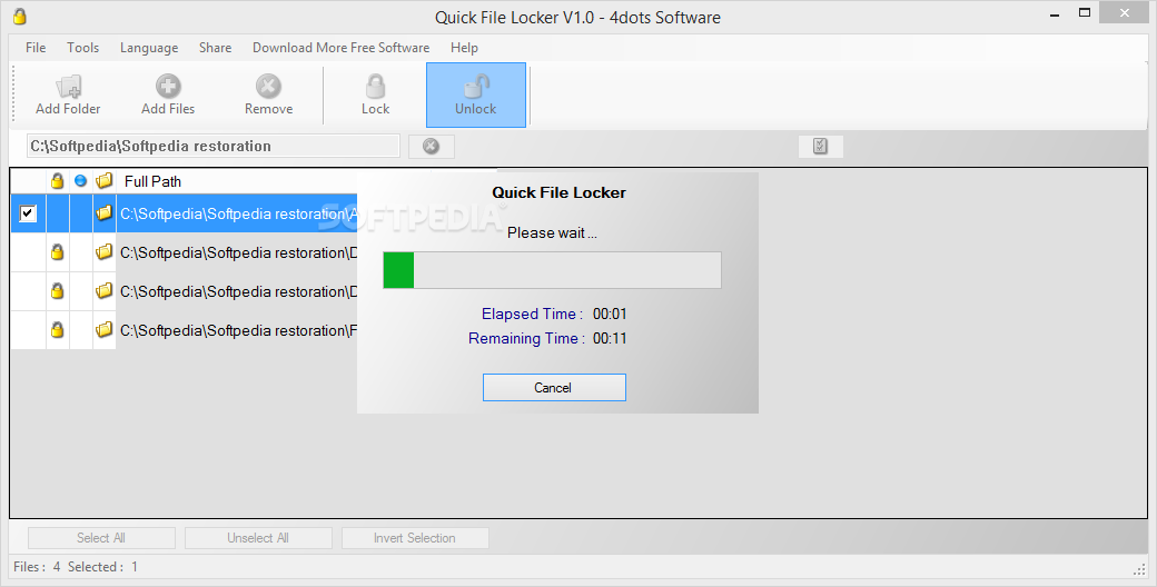 Quick file locker you can specify the folder you want to lock under