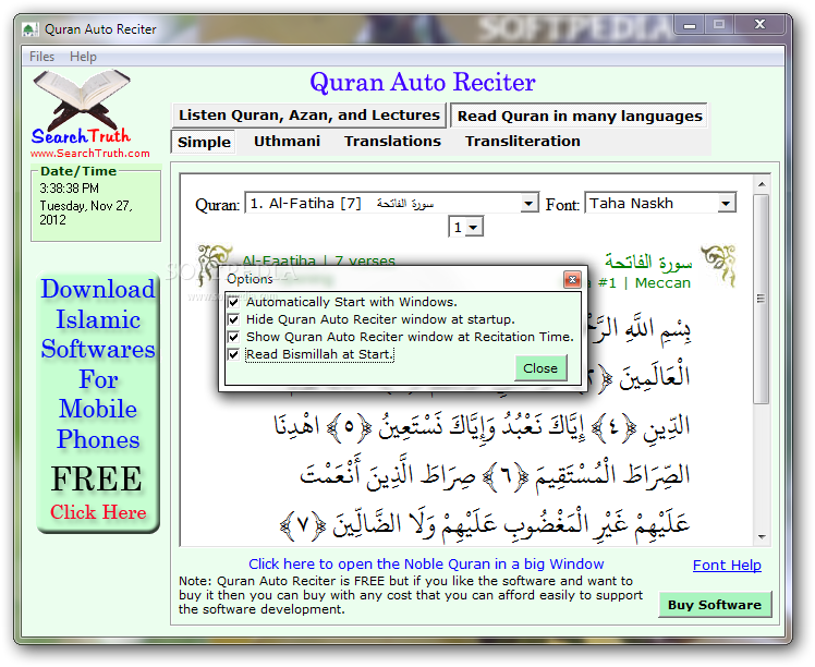 Mobile friendly version of the Quranic tools