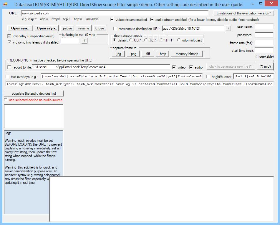 Download RTSP/RTMP/HTTP/URL DirectShow Source Filter 7 3 1 6