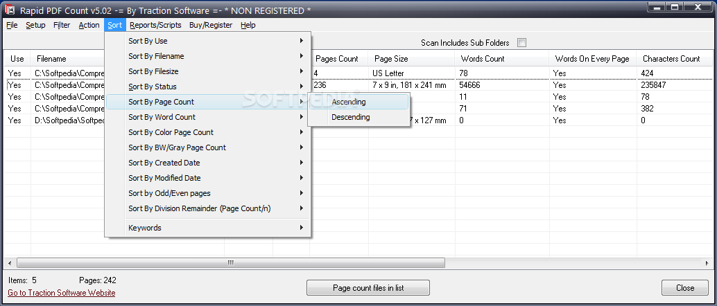 Rapid PDF Count screenshot 4 - You can navigate to the Reports/Scripts menu if you want to generate CSV reports