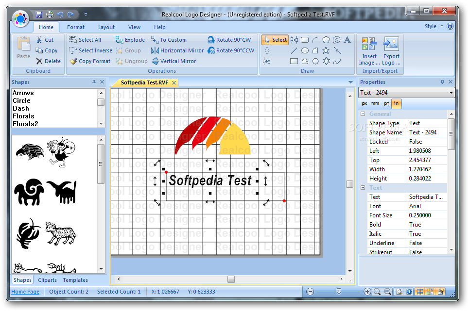 Realcool Logo Designer screenshot 1 - The main window of the program allows you to create your logo by inserting images and text boxes.