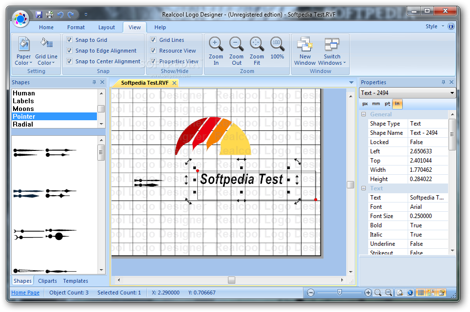 Realcool Logo Designer screenshot 4 - You can change the displayed items and the color of the canvas in order to suit your preferences.