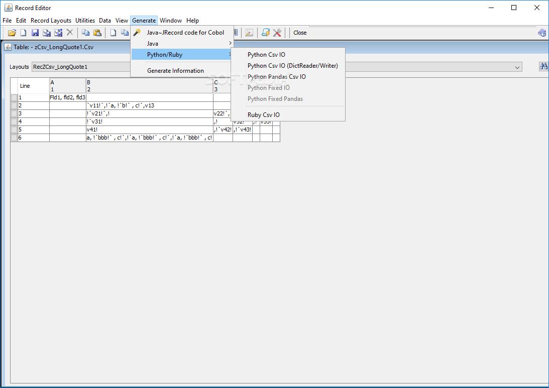 Download RecordEditor 0 97 / 0 99 0 Test