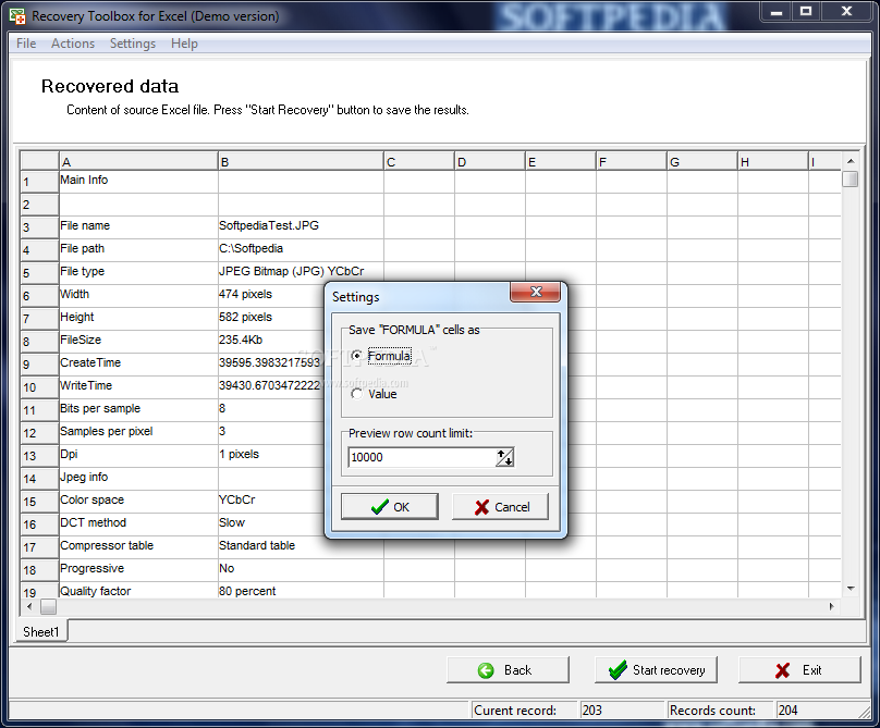 Recovery for works spreadsheet 1.1 build 12102