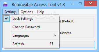 Download Removable Access Tool 1.3 ... Removable Access Tool - You can lock the settings, change the password  of the device ...