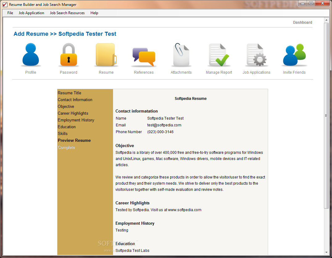 Download Resume Builder and Job Search Manager 1.8