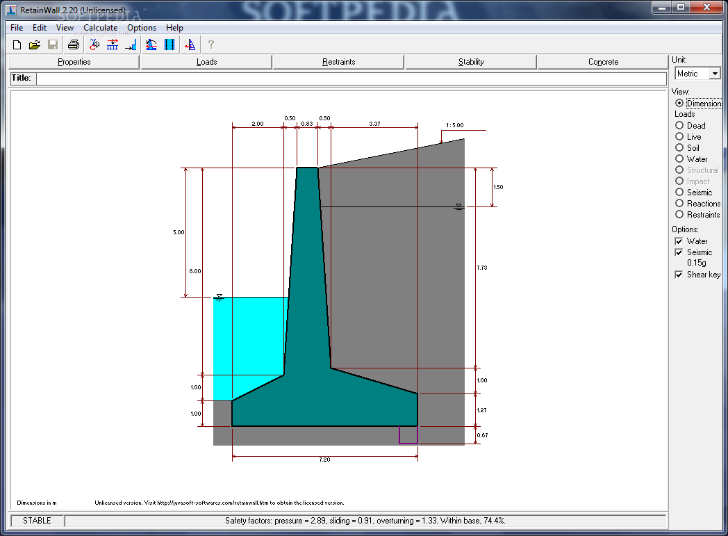 RetainWall screenshot 1 - RetainWall is a software mainly designed for the purpose of designing a concrete or masonry retaining wall.