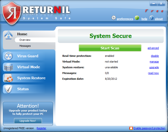 Download Returnil Virtual System Pro 2011 crack + serial keys