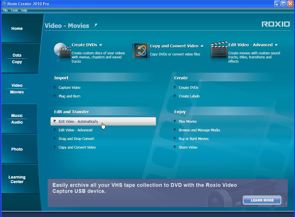 Features of Roxio Creator NXT Pro 6