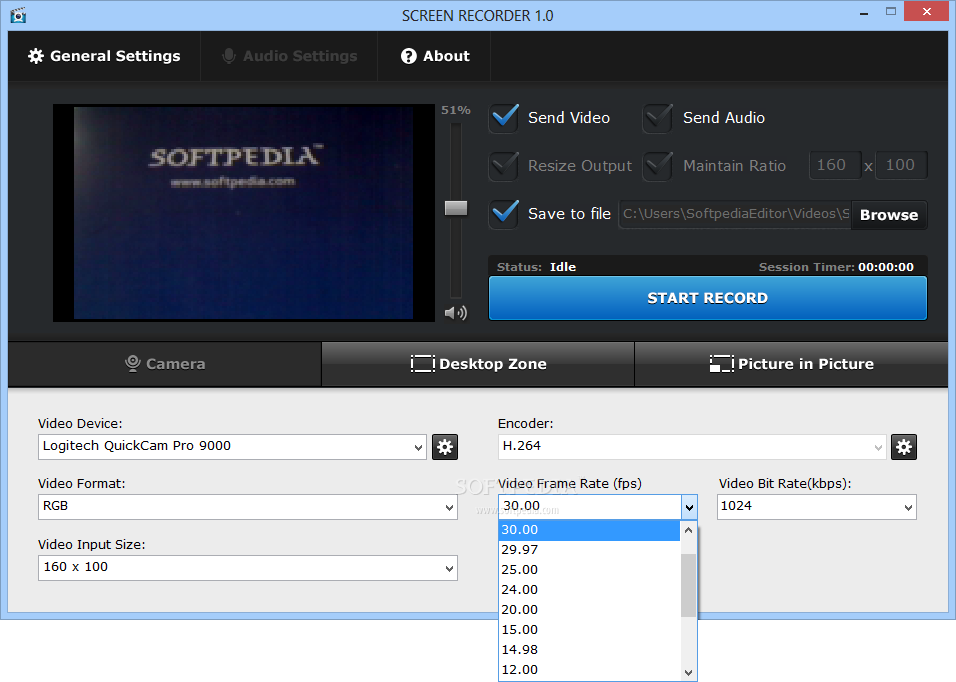 SCREEN RECORDER screenshot 3 - The Video Frame Rate menu allows you to choose the required FPS capture value
