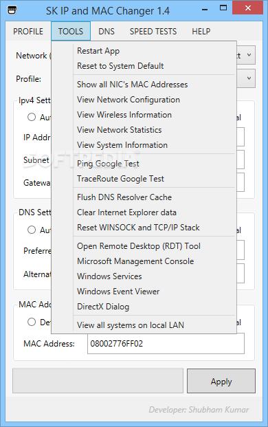 Download SK IP and MAC Changer 1 4