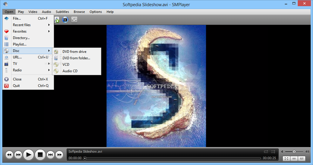 SMPlayer screenshot 3 - The Open menu found in SMPlayer lets you access a directory, disc or URL address.