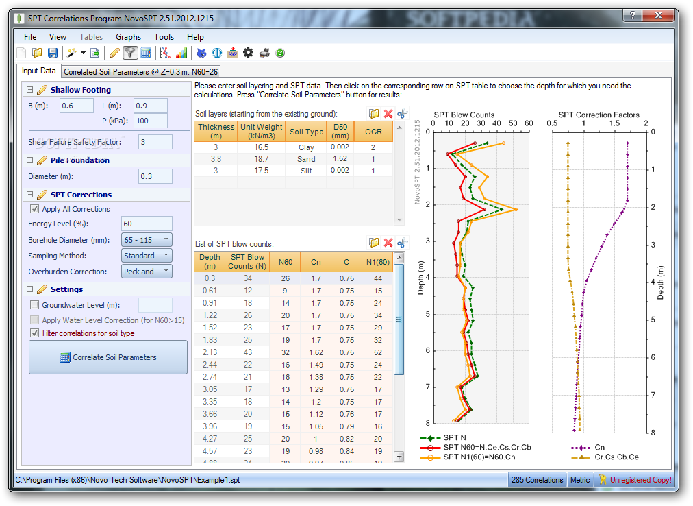 NovoSPT (SPT Correlation Program) screenshot 1 - NovoSPT (SPT Correlation Program) will help you correlate SPT blow counts and estimate geotechnical engineering soil properties