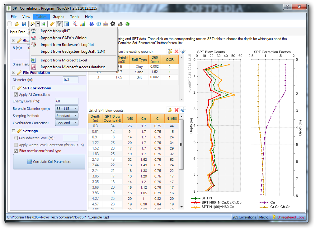NovoSPT (SPT Correlation Program) screenshot 3 - You have the possibility to import SPT correlations from various databases such as Excel or Access