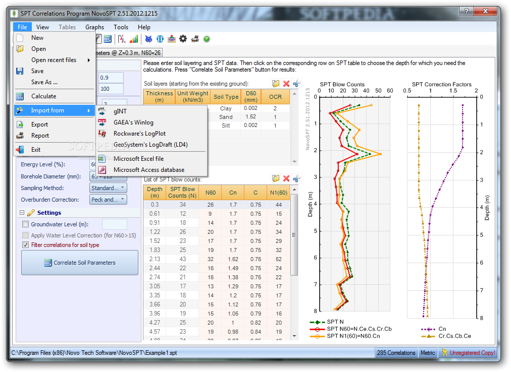 NovoSPT (SPT Correlation Program) screenshot 4