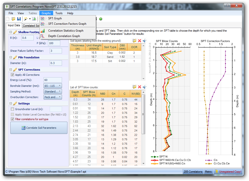 NovoSPT (SPT Correlation Program) screenshot 6