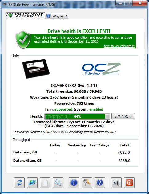 SSDlife Free screenshot 1 - The main window of the application displays the status of your Solid State Drive.