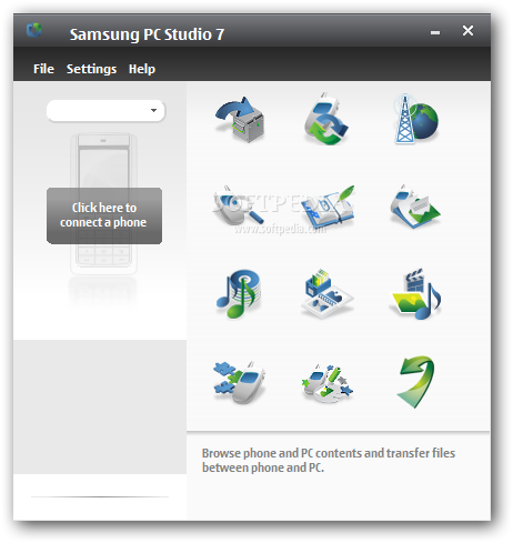 Samsung PC Studio screenshot 1 - This is the main window of Samsung PC Studio where you need to select the action you want to perform