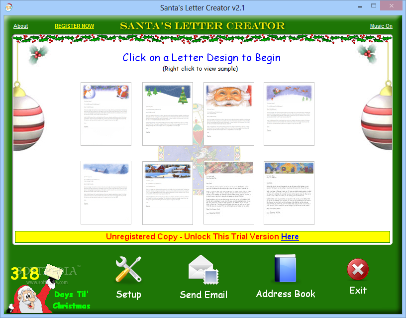 ... you to select from multiple templates of letters for Santa Claus