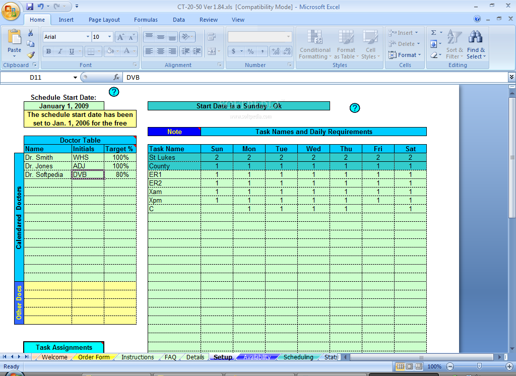 download schedule daily calls and tasks for 20 doctors 1 85