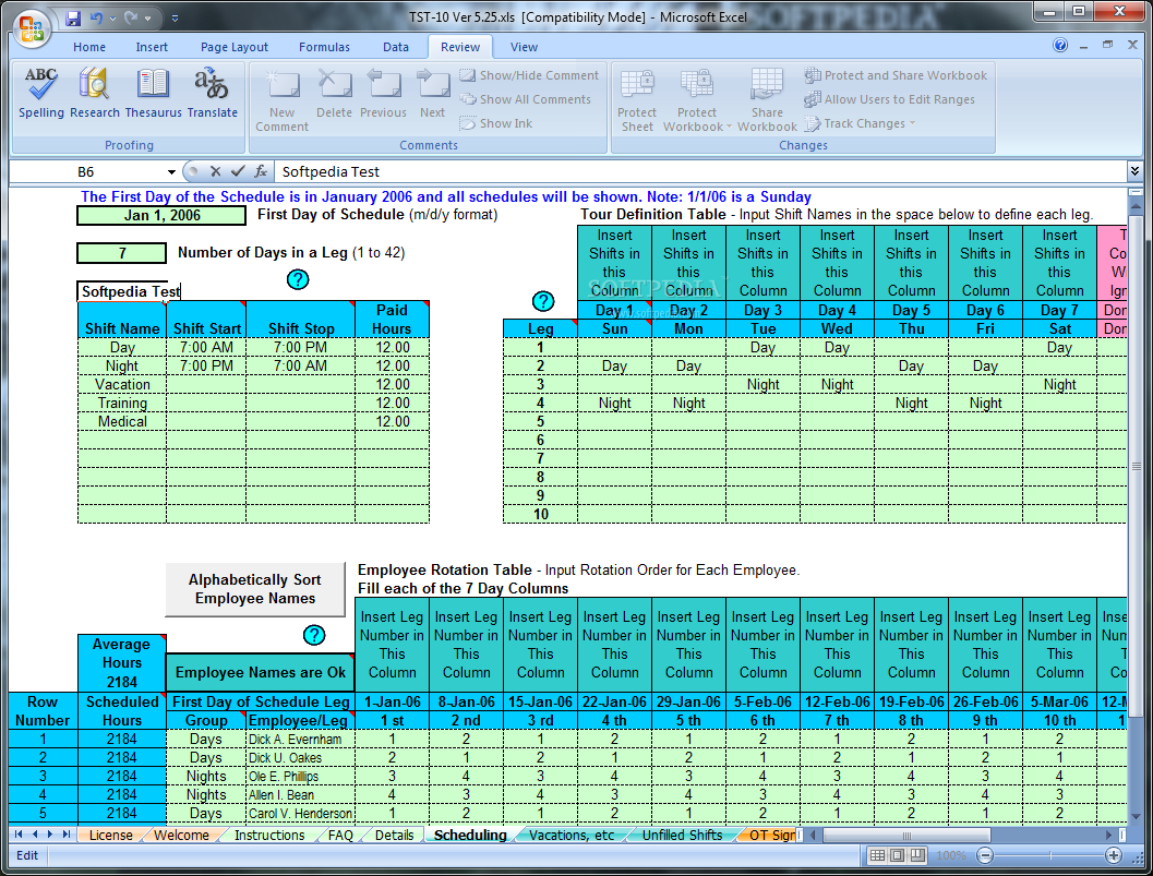 schedule rotating shifts and tasks excel spreadsheet creates rotating or fixed shift schedules for 10