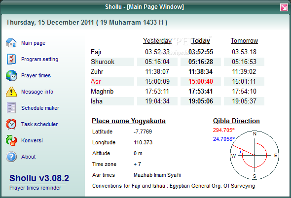 Shollu screenshot 1 - From the main window of the application you can view a daily prayer scheduler.