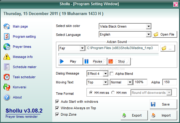 Shollu screenshot 2 - From this window you will be able to change the time format and the dialog message effect.