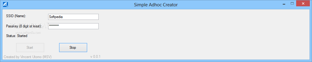 Simple Adhoc Creator screenshot 1 - From the main window of Simple Adhoc Creator you can set the SSID name and enter the passkey.