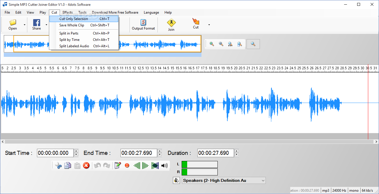 Freeease software free easy mp3 cutter overview cut & edit.
