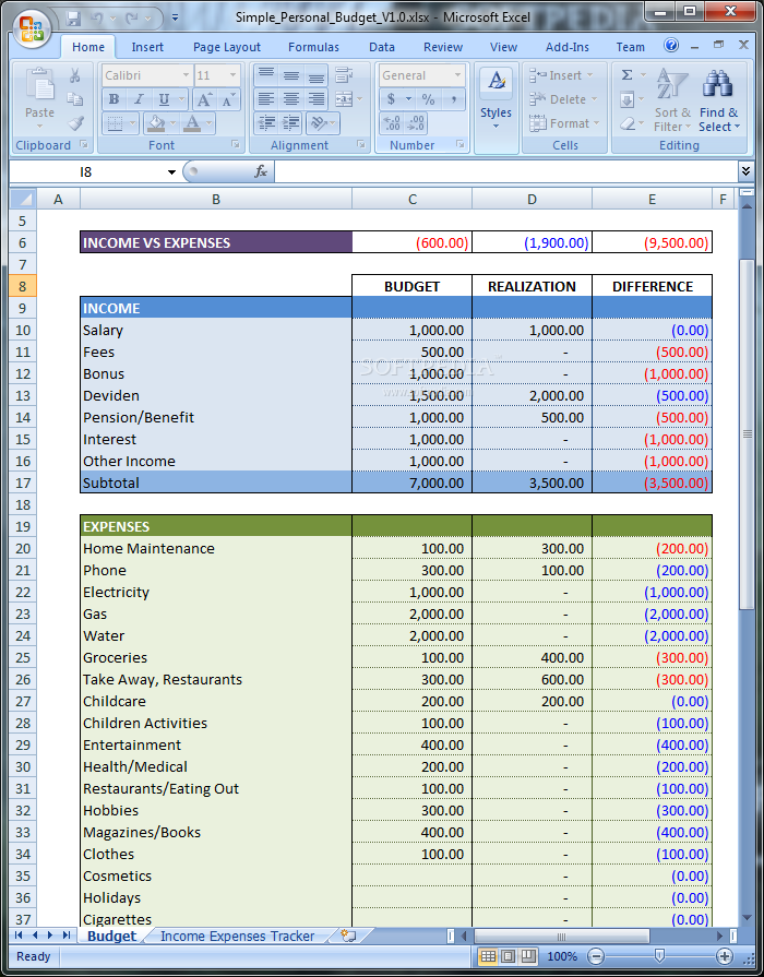 download simple personal budget 10