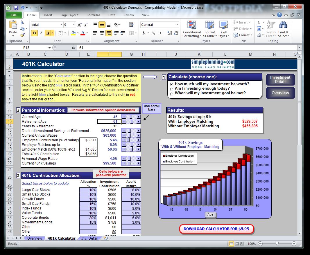 Download Simpleplanning 401k Calculator