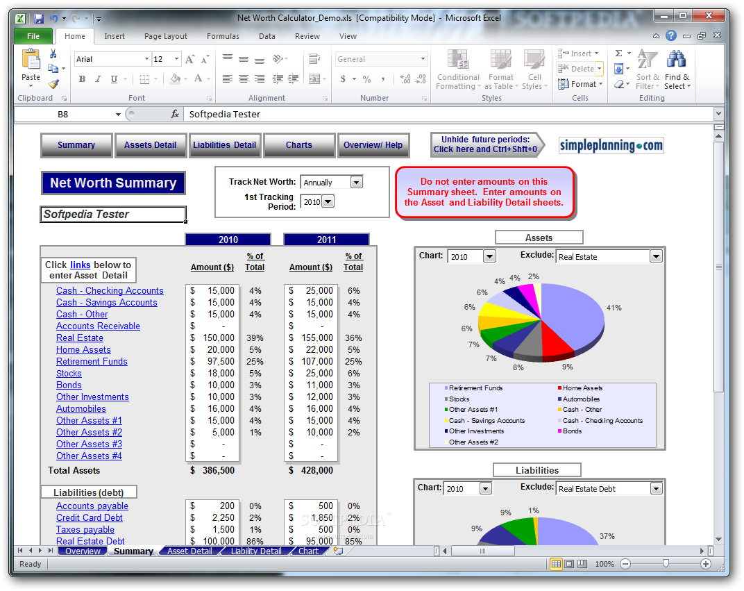 download simpleplanning net worth calculator