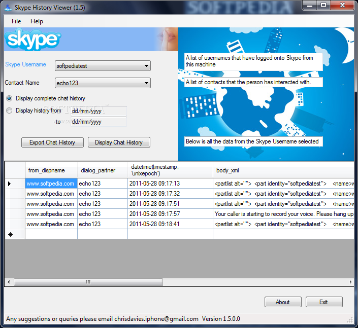 Download Skype History Viewer 1 5 0 1